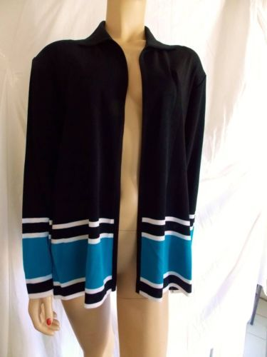 Exclusively-Misook-Black-Turquoise-White-Open-Jacket-Large