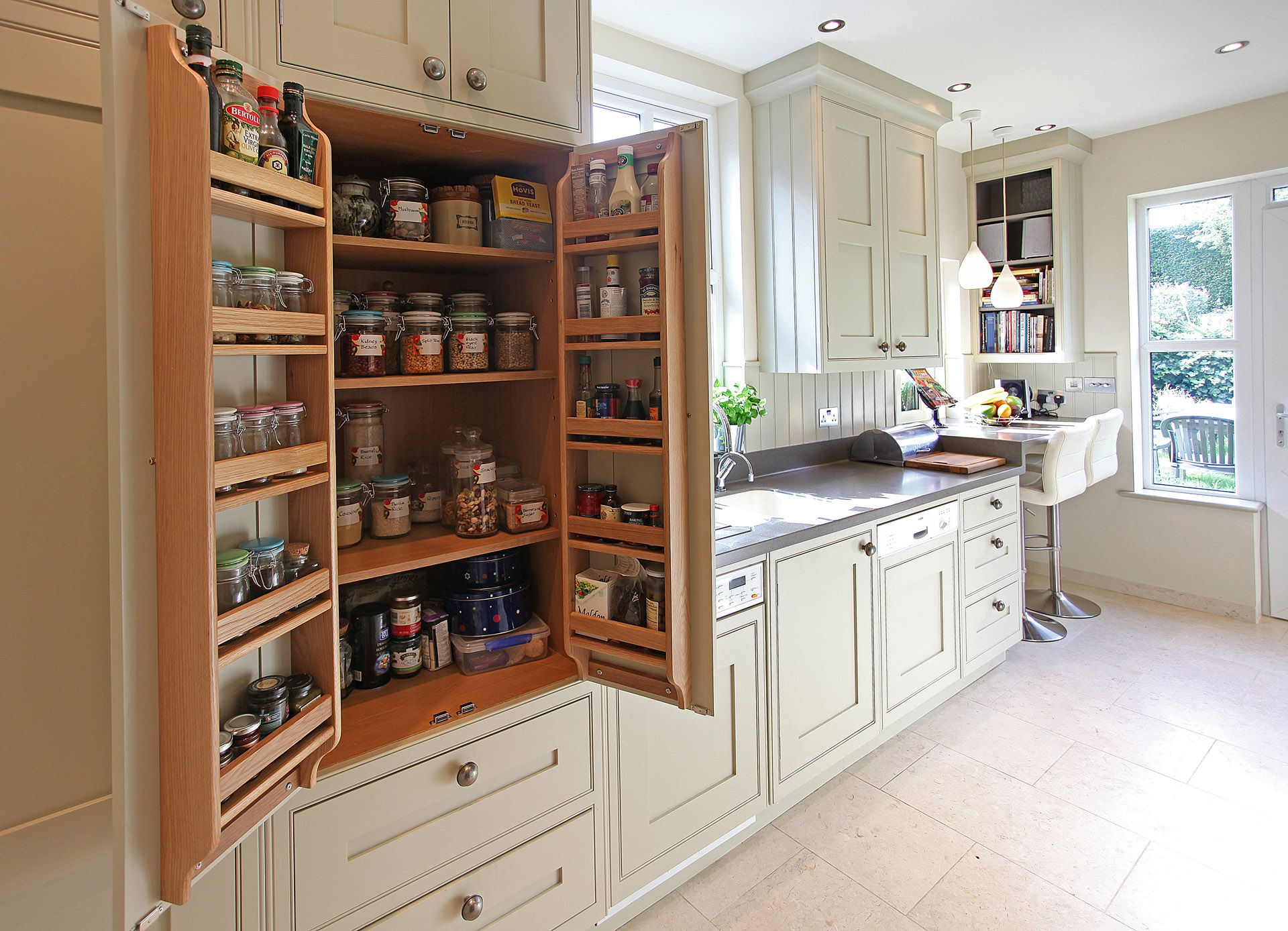 Bat wing pantry cabinet in galley kitchen bespoke small for Galley kitchen ideas uk