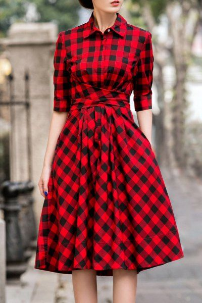 18cdy Red Retro Style Tie Checked Dress | Shirt Dresses at DEZZAL
