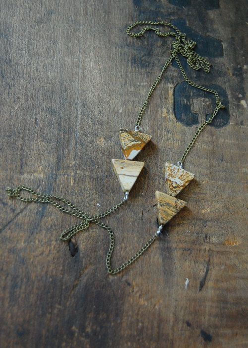 Arrow Necklace2 Picture Jasper Triangle Modern by barkdecor