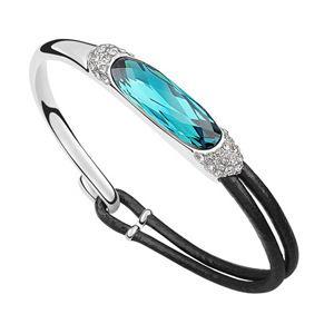 Pas cher Sexy Punk déclaration femme Bracelet fait avec Swarovski éléments en cuir 18 k réel or blanc palted cristal Bracelet pour fille, Acheter  Bracelets rigides de qualité directement des fournisseurs de Chine: