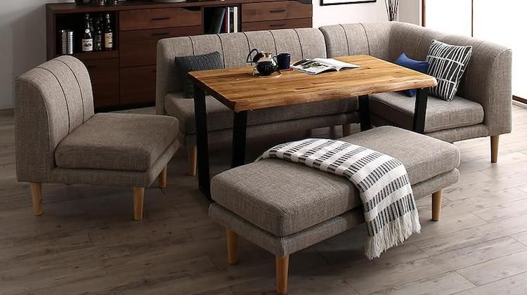 T字脚の棚付テーブルに 木フレームのデザインソファの北欧デザインソファダイニングセット 一人暮らしのインテリア通販 Mottie モッティ 2020 Ikea リビングルーム リビングダイニングセット ダイニングセット
