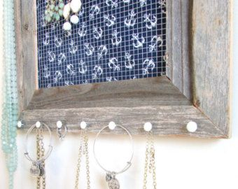 Jewelry Organizer Barnwood Frame Nautical Navy Blue and White
