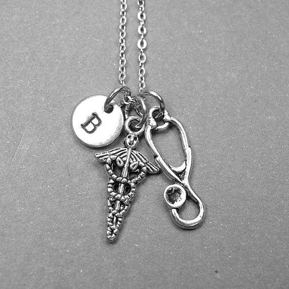Caduceus Necklace Symbol Of Medicine Necklace Stethoscope Necklace