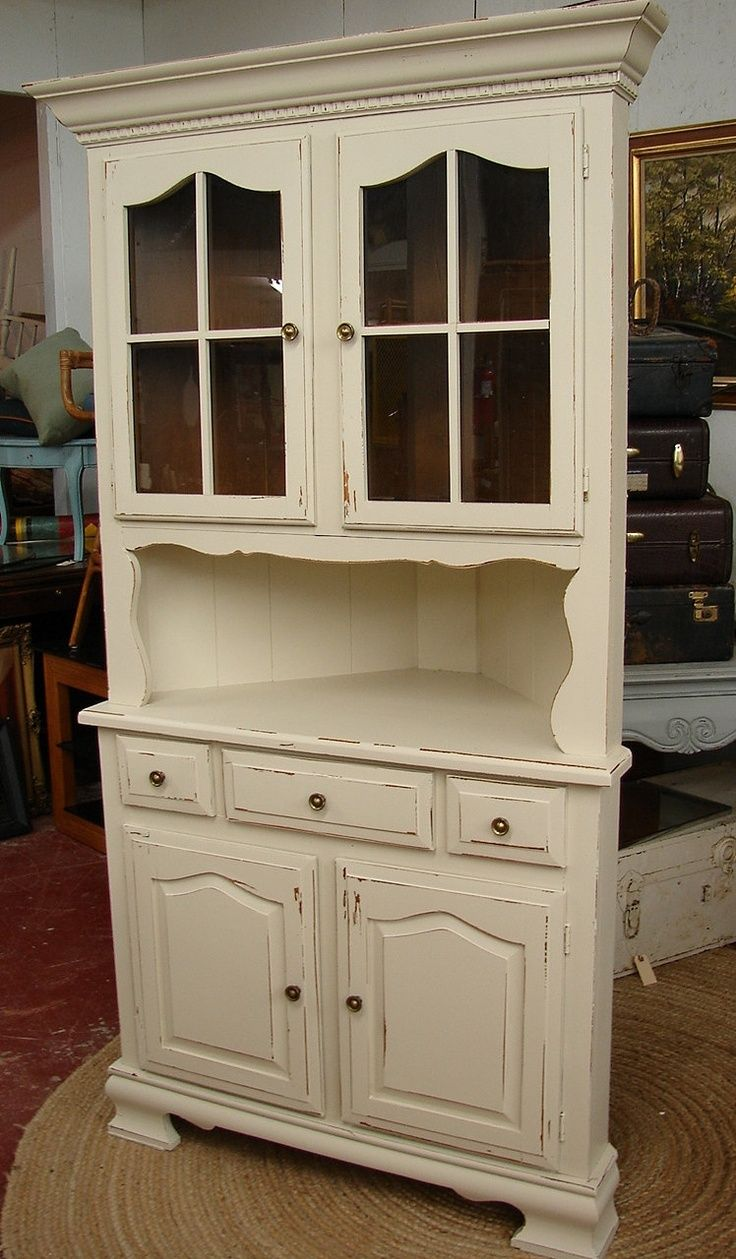 Reclaimed Vintage White Shabby Chic Cottage Painted Corner Hutch China Cabinet Cupboard Id Love This In The Kitchen Mud Room