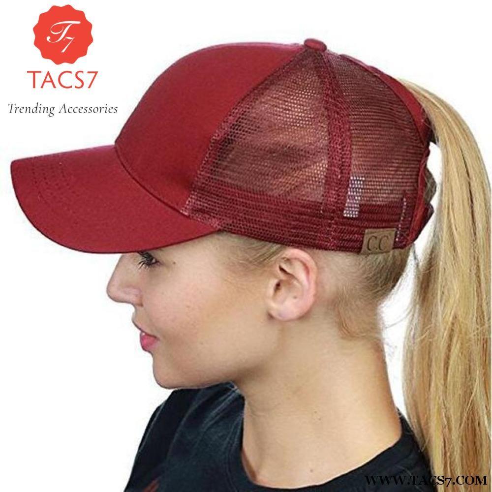 63edcea8503 Glitter Ponytail Baseball Snapback Cap Dad Hats for Women Hip Hop Caps  Messy Bun Cotton Sports