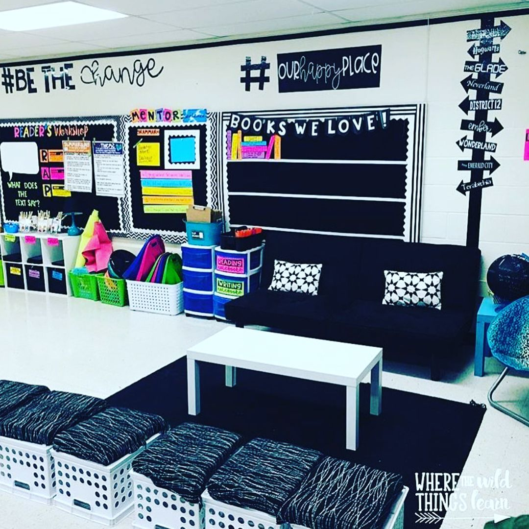 Seating, books, and sticky notes, oh my! • Amelia, @wildthingslearn has given me so many new ideas for next year! • • •  teachershare…