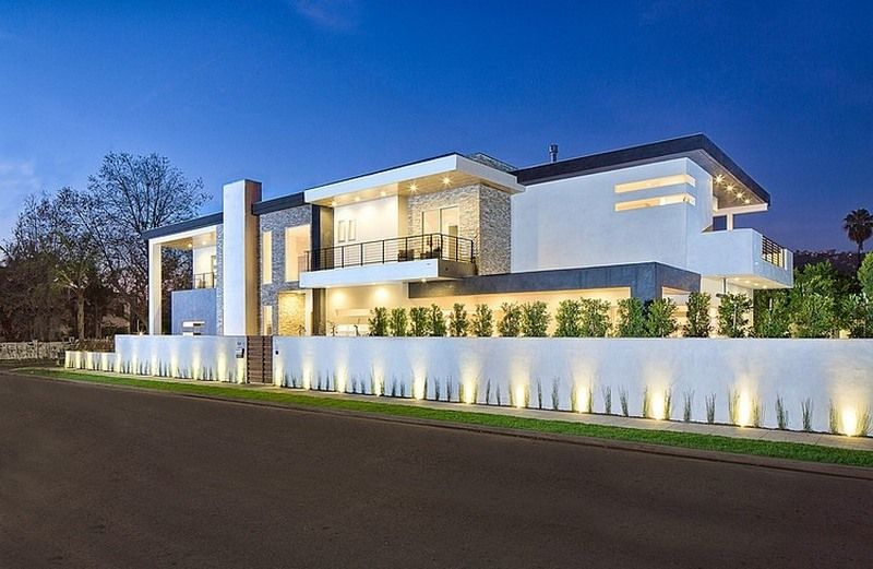 fantastic modern house lighting. General View Of The House With White Concrete Fence And Fantastic Lighting Fixtures Along Simply Modern