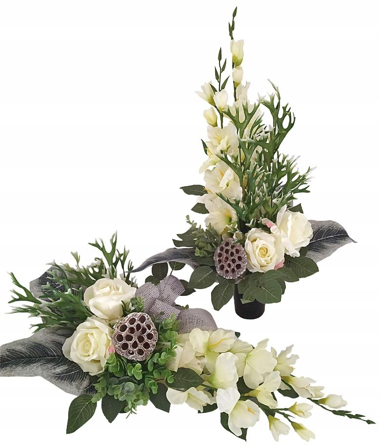 Kup Teraz Na Allegro Pl Za 129 Zl Komplet Na Grob Kompozycja Kwiatowa Stroi Easter Flower Arrangements Funeral Flower Arrangements Church Flower Arrangements