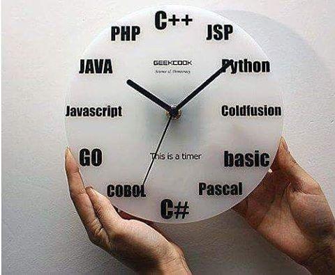 Relógio para programador! #c #jsp #phyton #coldfusion #basic #pascal #cobol #javascript #java #php #asp #html5 #css3 #wordpress #nerds #geeks #programadores #criativos #developers #webdevelopers #creative #