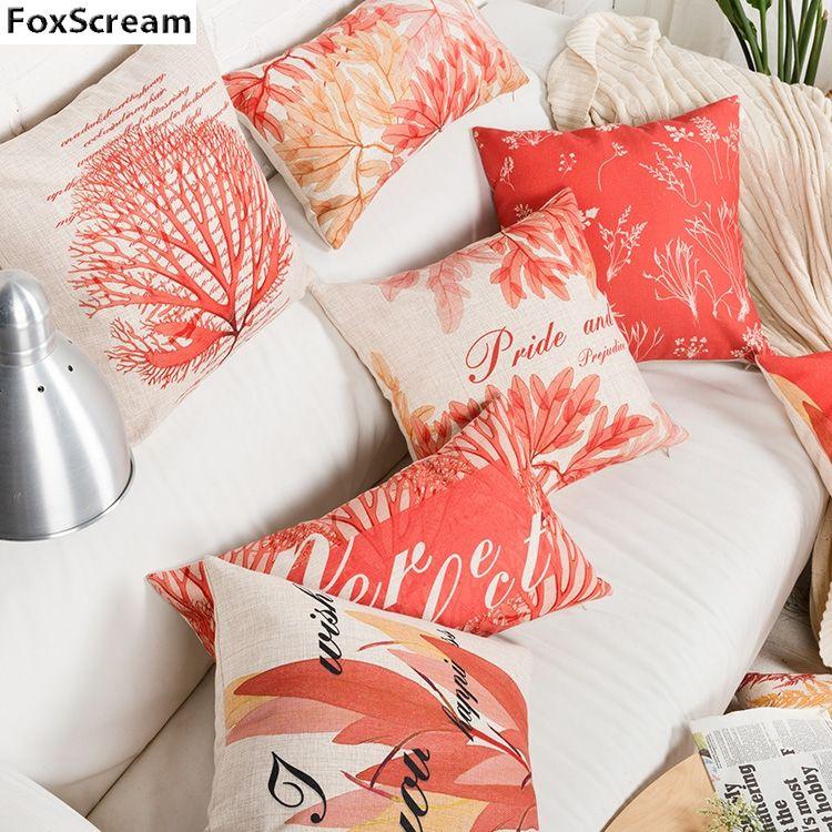 Funda de coj/ín de funda de almohada de Navidad Funda de almohada de lino a cuadros rojos para la decoraci/ón del sof/á casero