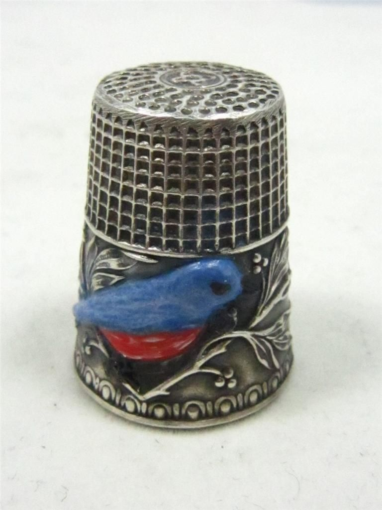 Vintage Silver Thimble with Blue and Red Enamel Flower