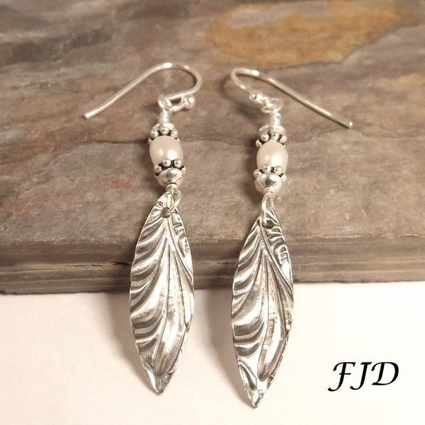 Fine Silver, Freshwater Pearl and Sterling Silver Earrings | Felicity Jewelry Designs, Handmade Jewelry, Fashion Jewelry