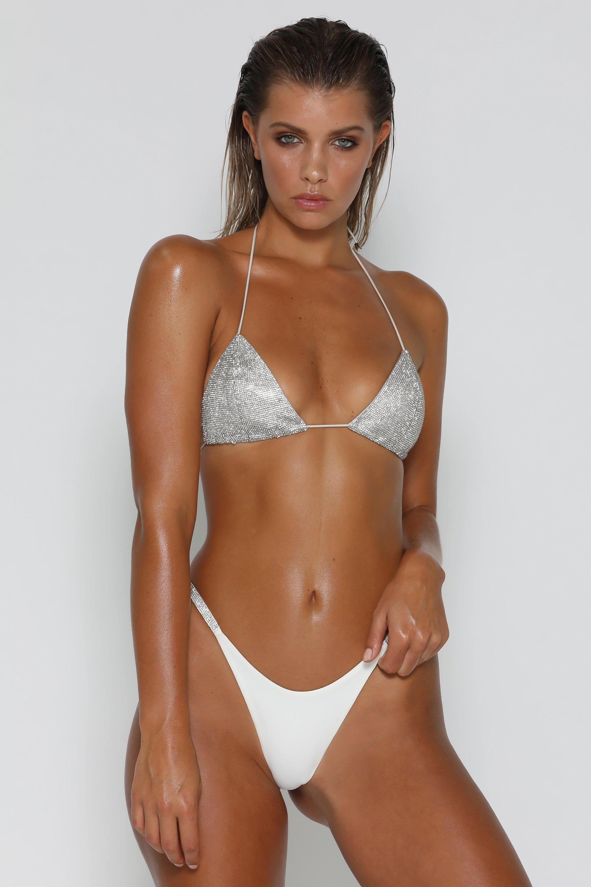 df10a6f2dea11 Sofia Diamante Bikini Top - Silver - MESHKI Diamante Bikini