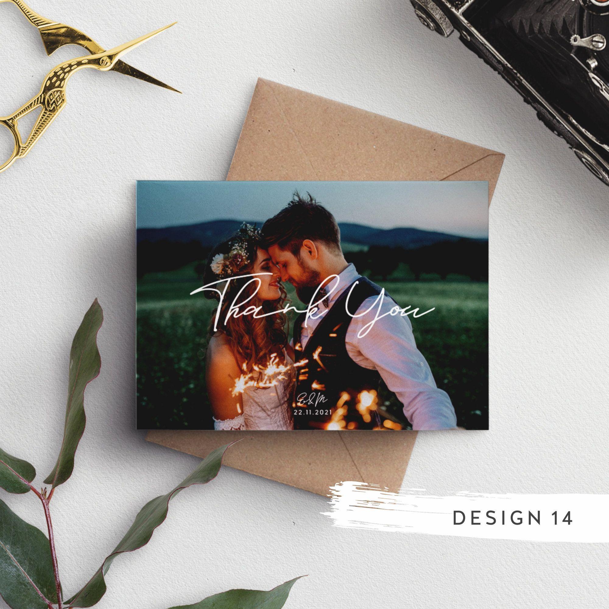 Thank You Wedding Cards, Photo Thank You Card,  Thank You Card Wedding, Thank You Cards With Envelopes, Personalised Thank You Cards #087#card #cards #envelopes #personalised #photo #wedding