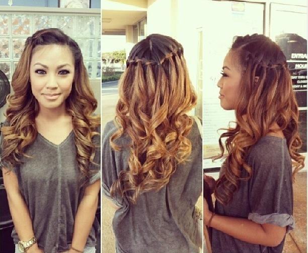 waterfall braid & curls | Cheveux | Pinterest | Waterfall braid curls