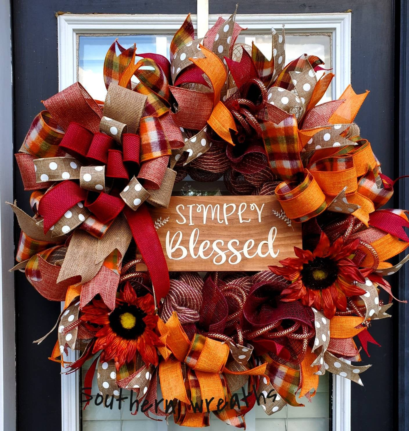 Photo of Fall Simply Blessed Burlap Wreath, Autumn Sunflower Front Door Wreath, Fall Sunflower Door Decoration,Thanksgiving Wreath, Fall Sunflowers