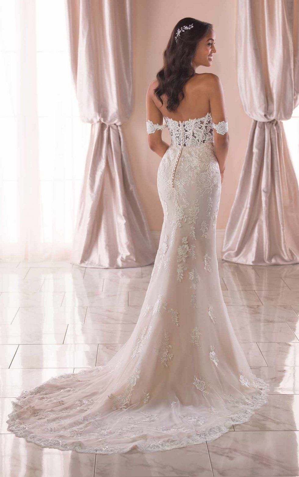 Romantic Lace Wedding Dress With Off The Shoulder Straps Stella York Wedding Dresses In 2020 Romantic Wedding Dress Lace Wedding Dresses Lace Ball Gown Wedding Dress
