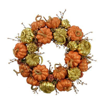 "Fantastic Craft Pumpkin Wreath Size: 20"" H x 20"" W, Color: Copper"