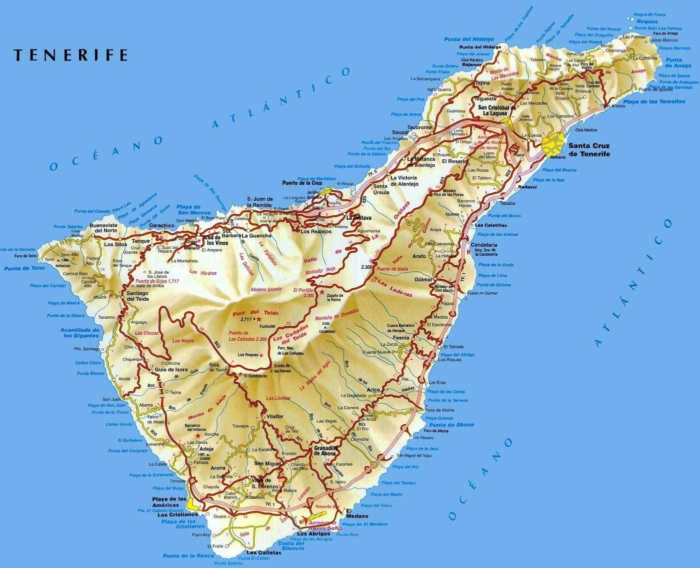 Teneryfa Wyspa Wiecznej Wiosny Tenerife Map Island Map
