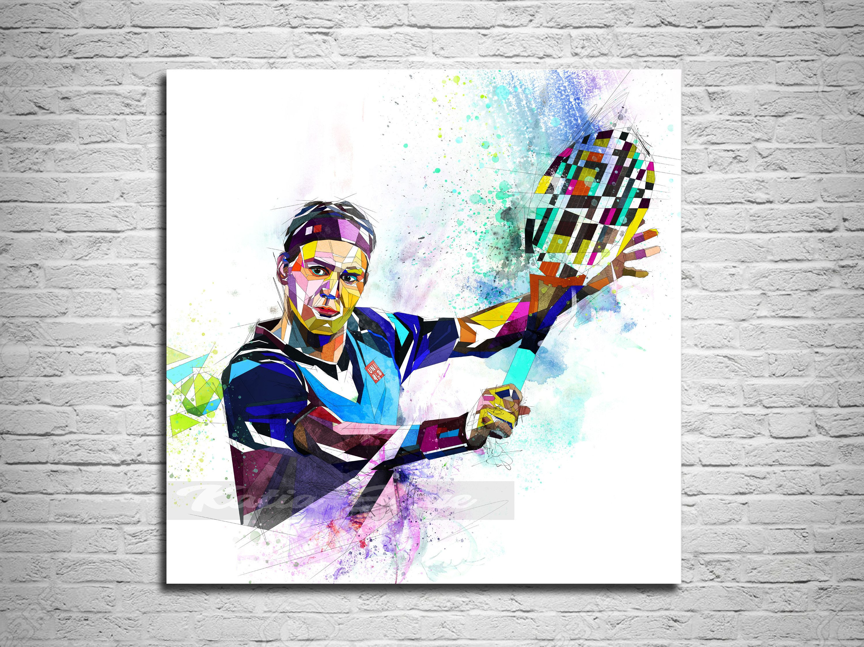 Canvas Print Roger Federer Art Tennis Art Sports Fan Poster Etsy In 2020 Canvas Prints Tennis Art Abstract Drawings