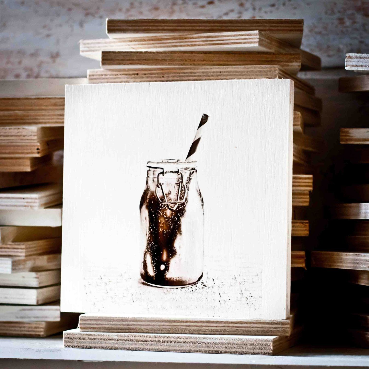 Food Photography - Chocolate Milk Gel Transfer on Wood - Black and ...