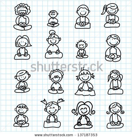 hand drawing cartoon happy people meditation on graph paper illustration - stock vector