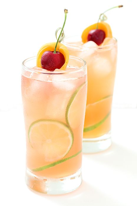 Apricot and Cherry Breezer ~ The perfect summery cocktail to lull you into a weekend ease.