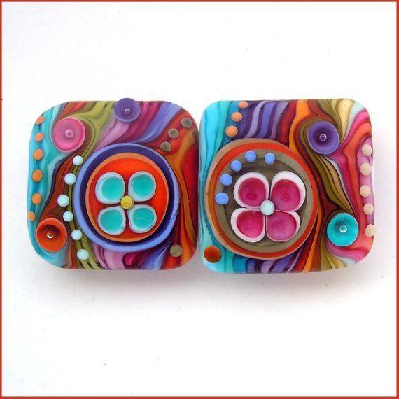 Michal S- Woodstock Flowers- Lampwork nugget bead set (2) FREE SHIPPING