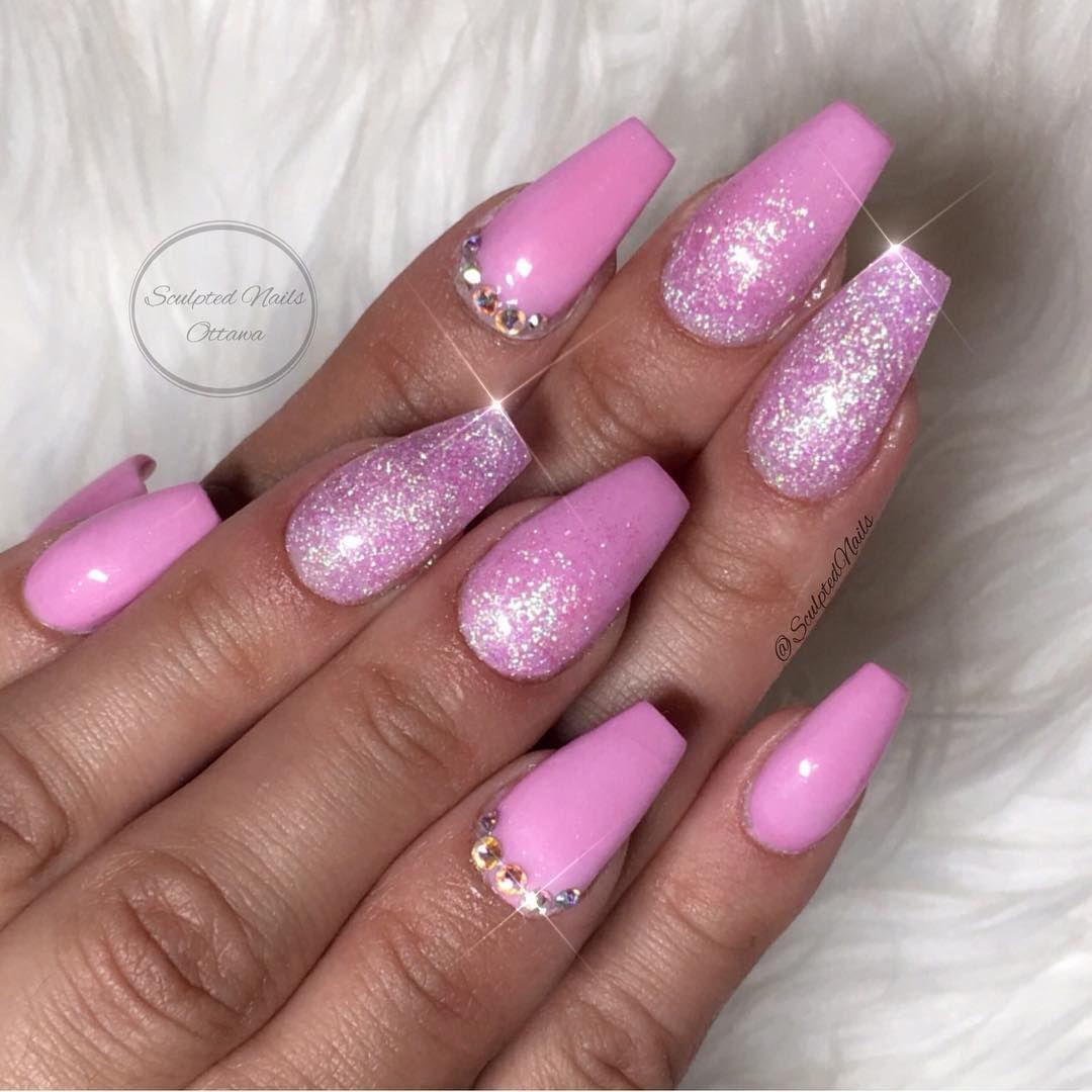 glamandglitsnails madeinsweet pink coloracrylic and