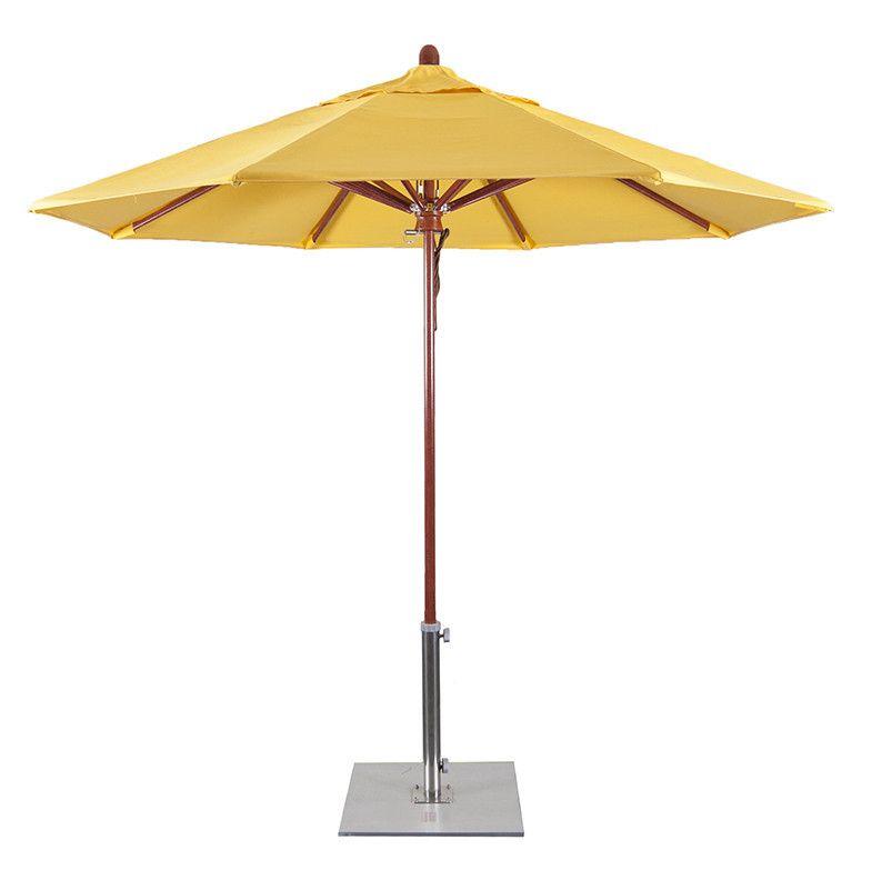FLEX908 9' Wood Simulated Fiberglass Patio Umbrella