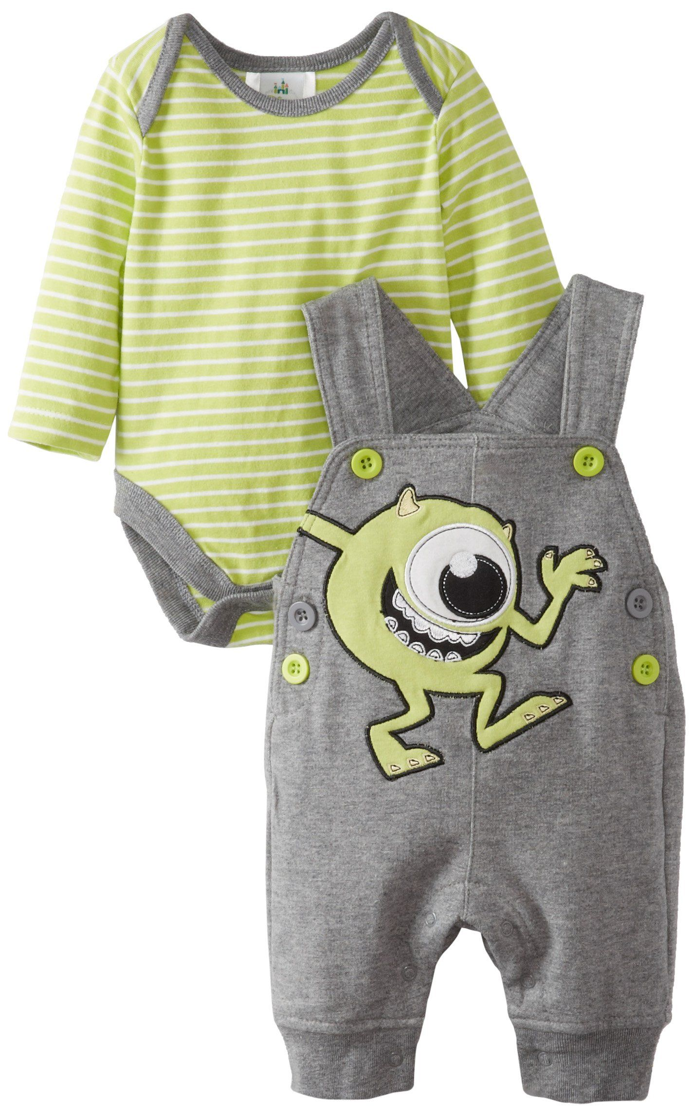 f6cf6bfe5 Disney Baby Baby-Boys Newborn 2 Piece Overall Set, Grey/Green, 0-3 Months