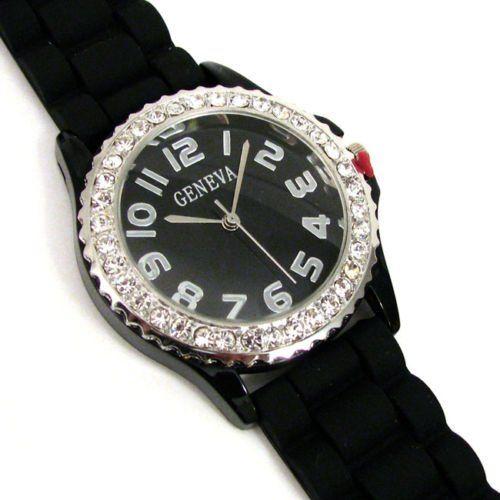 Black Silver Silicone Gel Ceramic Style Band Crystal Bezel Watch $5.99