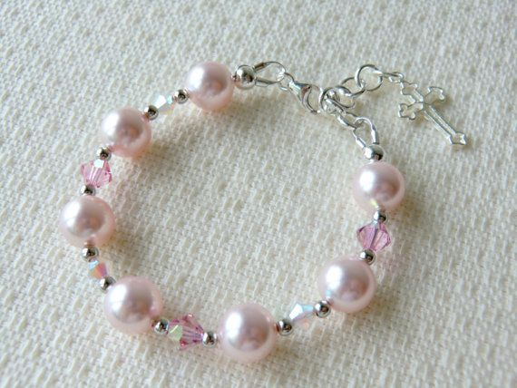 Pink Baby Bracelet for Baptism Christening or Communion Flower Girls