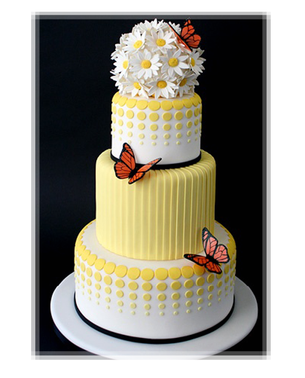 Beautiful Cake Pictures: Yellow And White Dotted Floral Butterfly ...