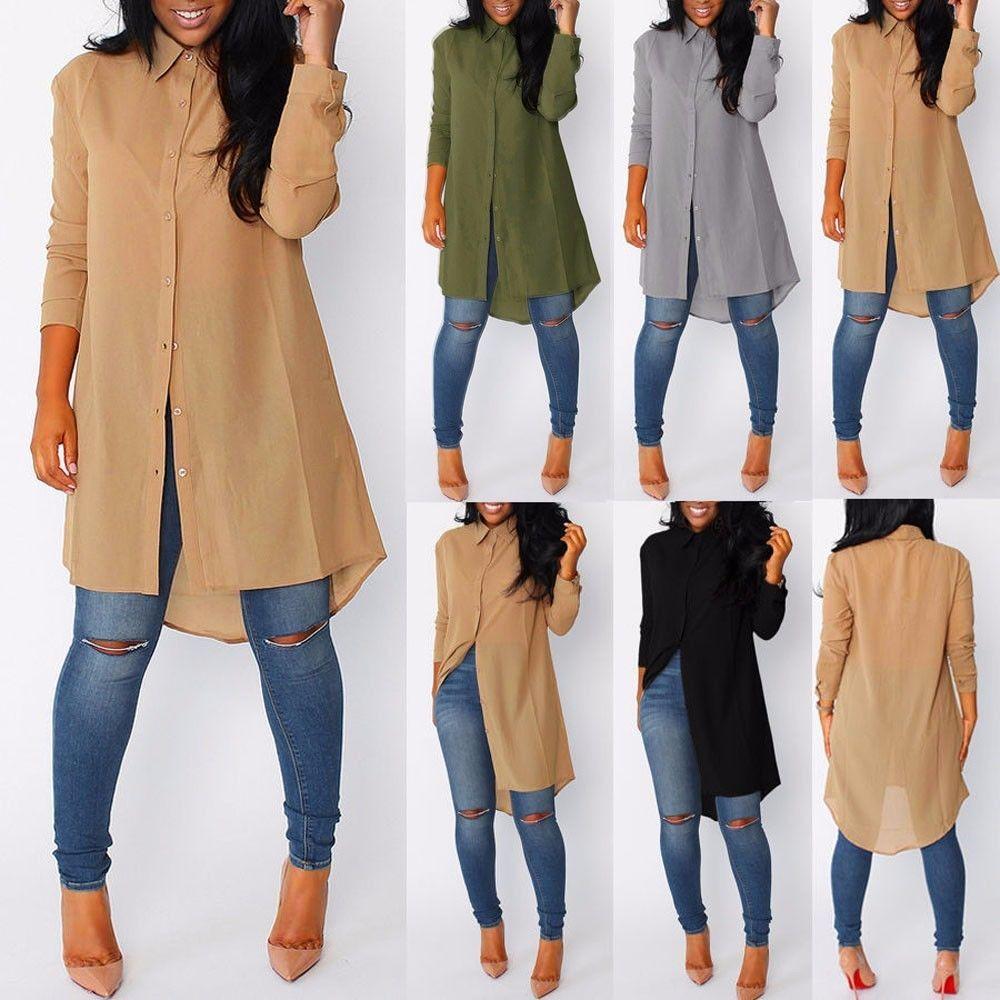Women ladies long sleeve shirt hemp turndown collar long dress fall