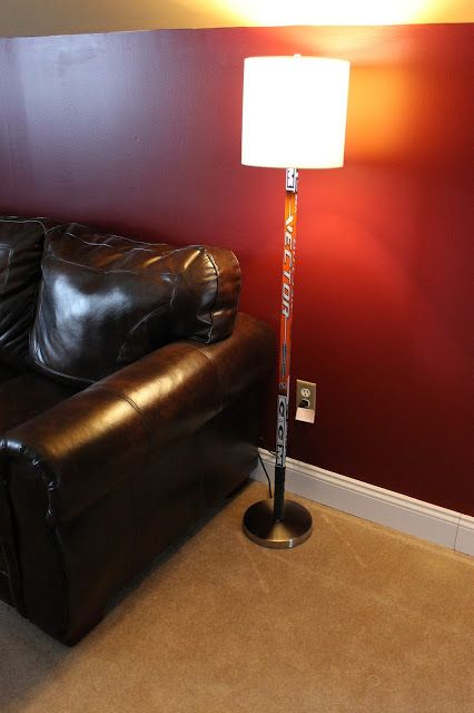 Paint Speckled Pawprints: Hockey Stick Floor Lamp