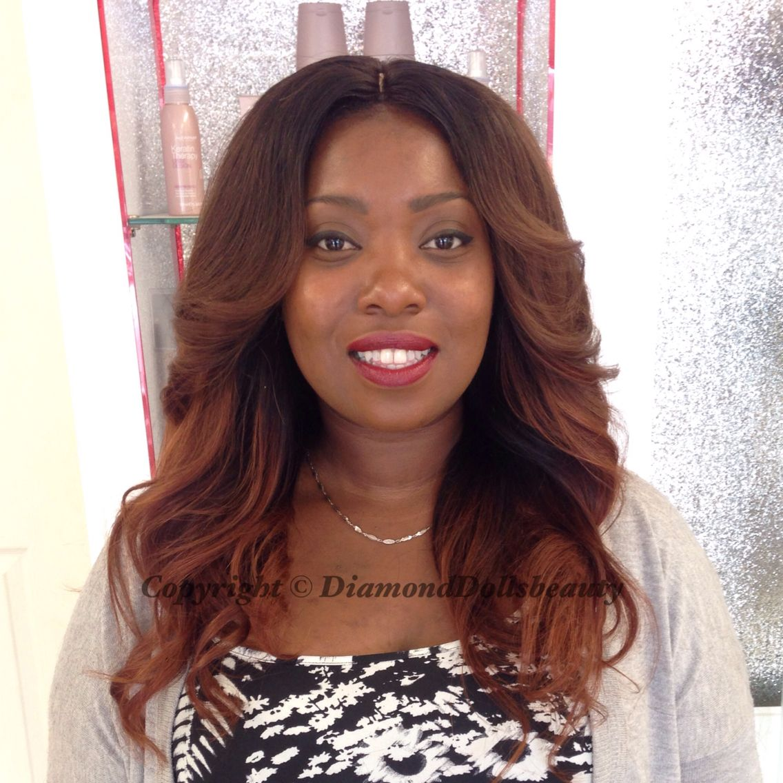 Famous hair weave custom coloured and installed by diamond dolls