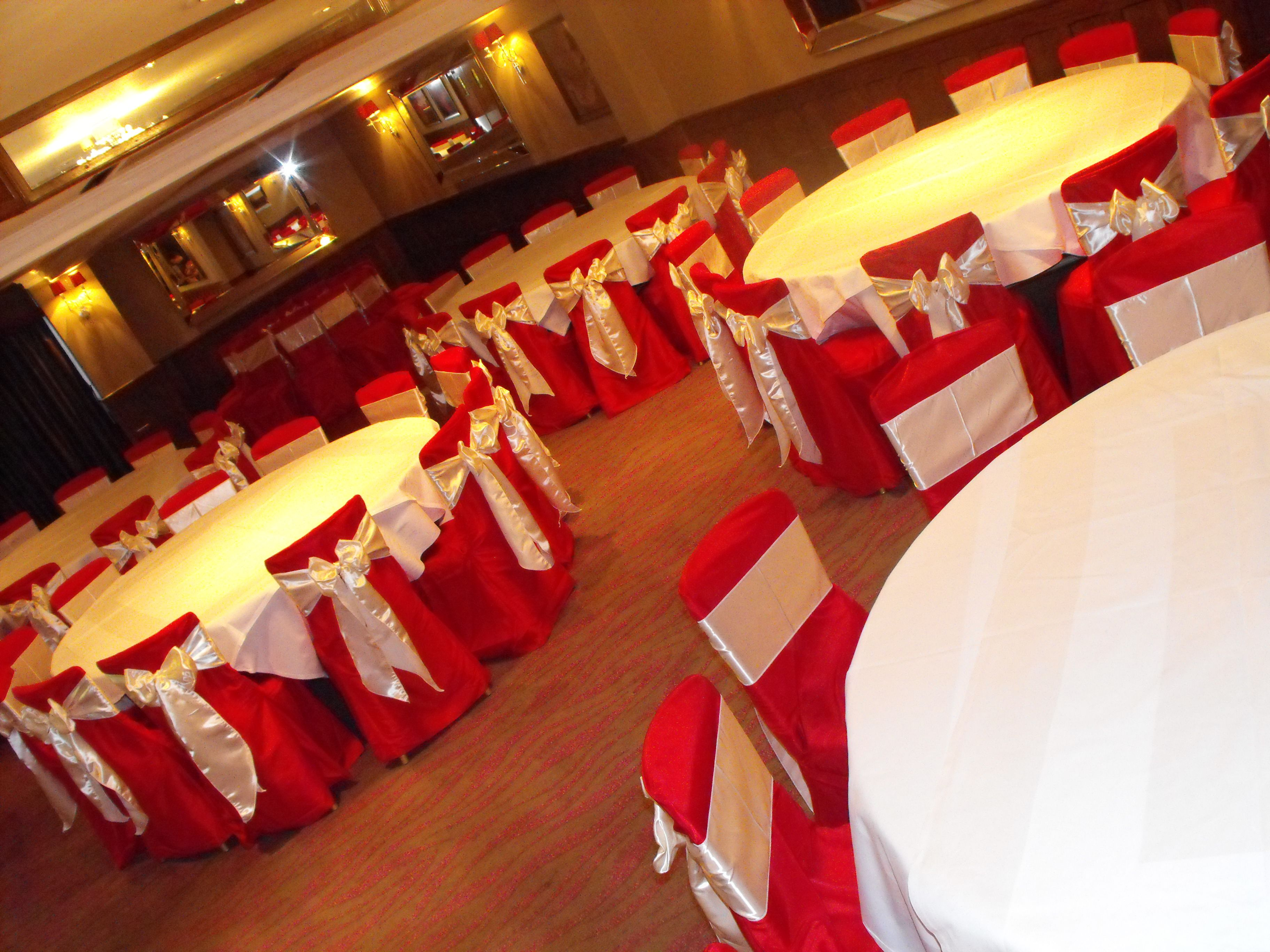 red chair covers with ivory satin bows red white and black