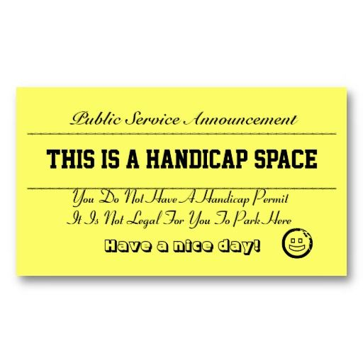 Handicap Parking Notice Cards Zazzle Com Business Card Template Cards Quality Cards