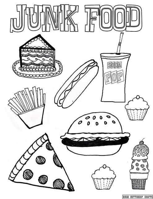 Junk Food 8 5 By11 Coloring Page Healthy And Unhealthy Food Food Coloring Pages Birthday Coloring Pages