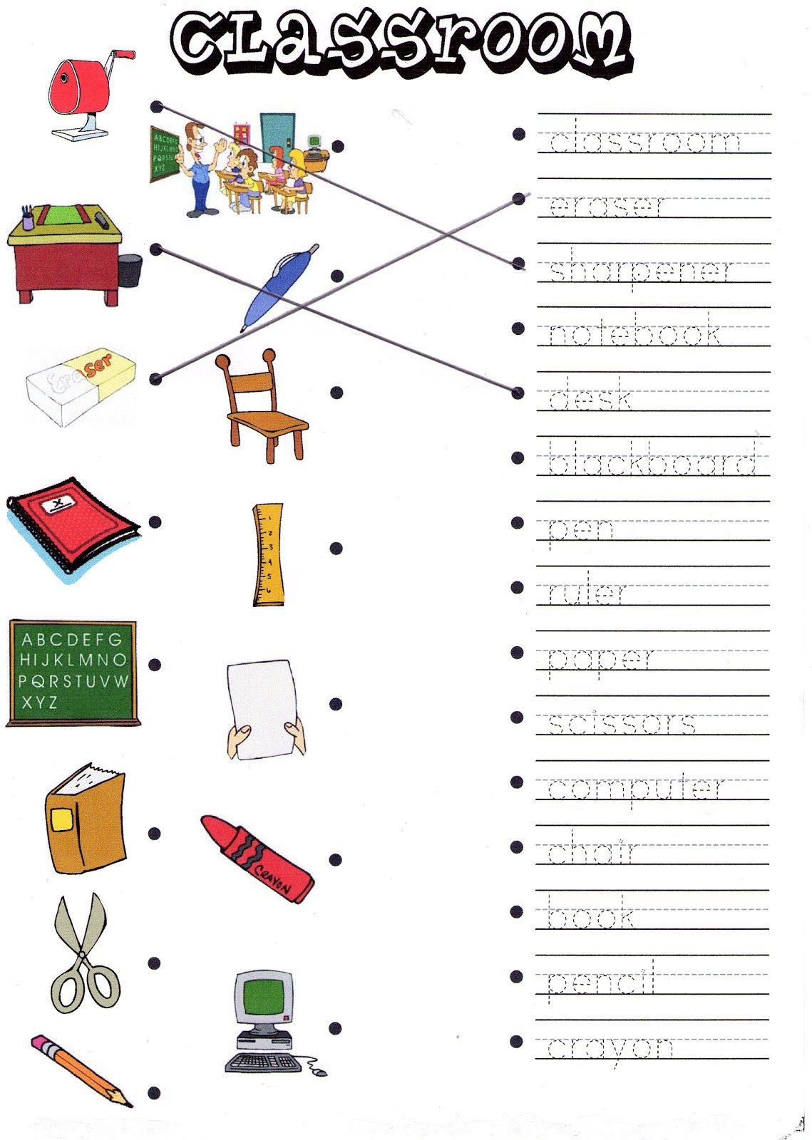 Classroom Objects Worksheets For Kindergarten