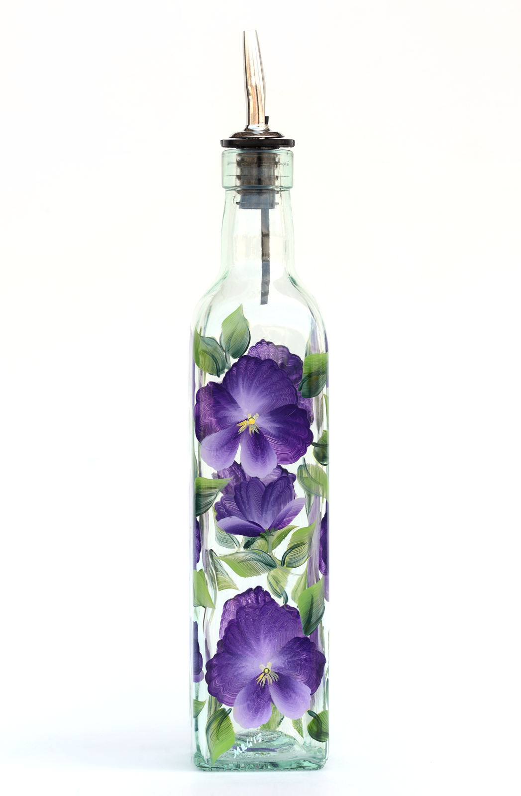 Pansies Olive Oil Bottle Olive Oil Bottles Painted Wine Glasses Wine Bottle Art