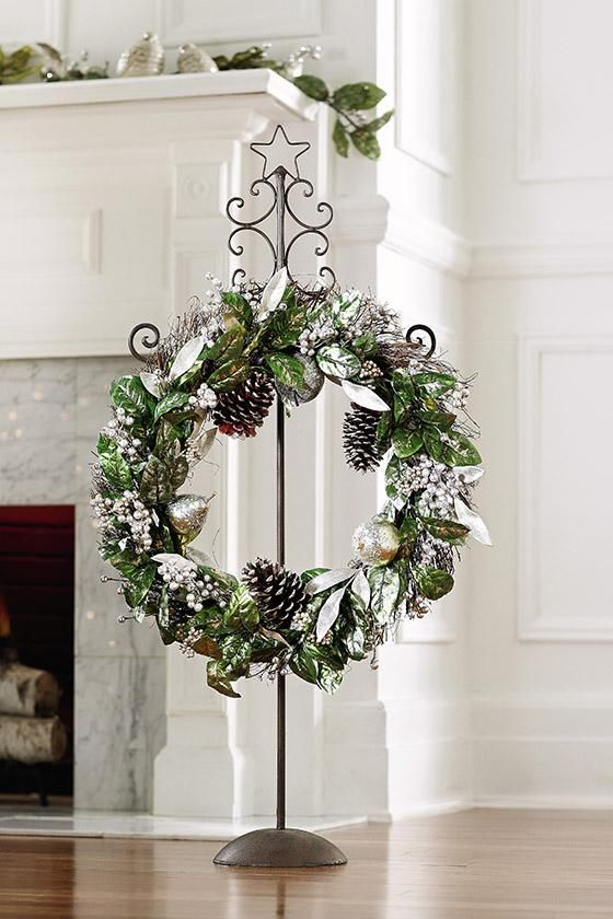 Short On Space Hang Your Wreath On A Wreath Stand Holiday2012 Homedecorators Com Metal Christmas Wreath Wreath Stand Small Wreaths