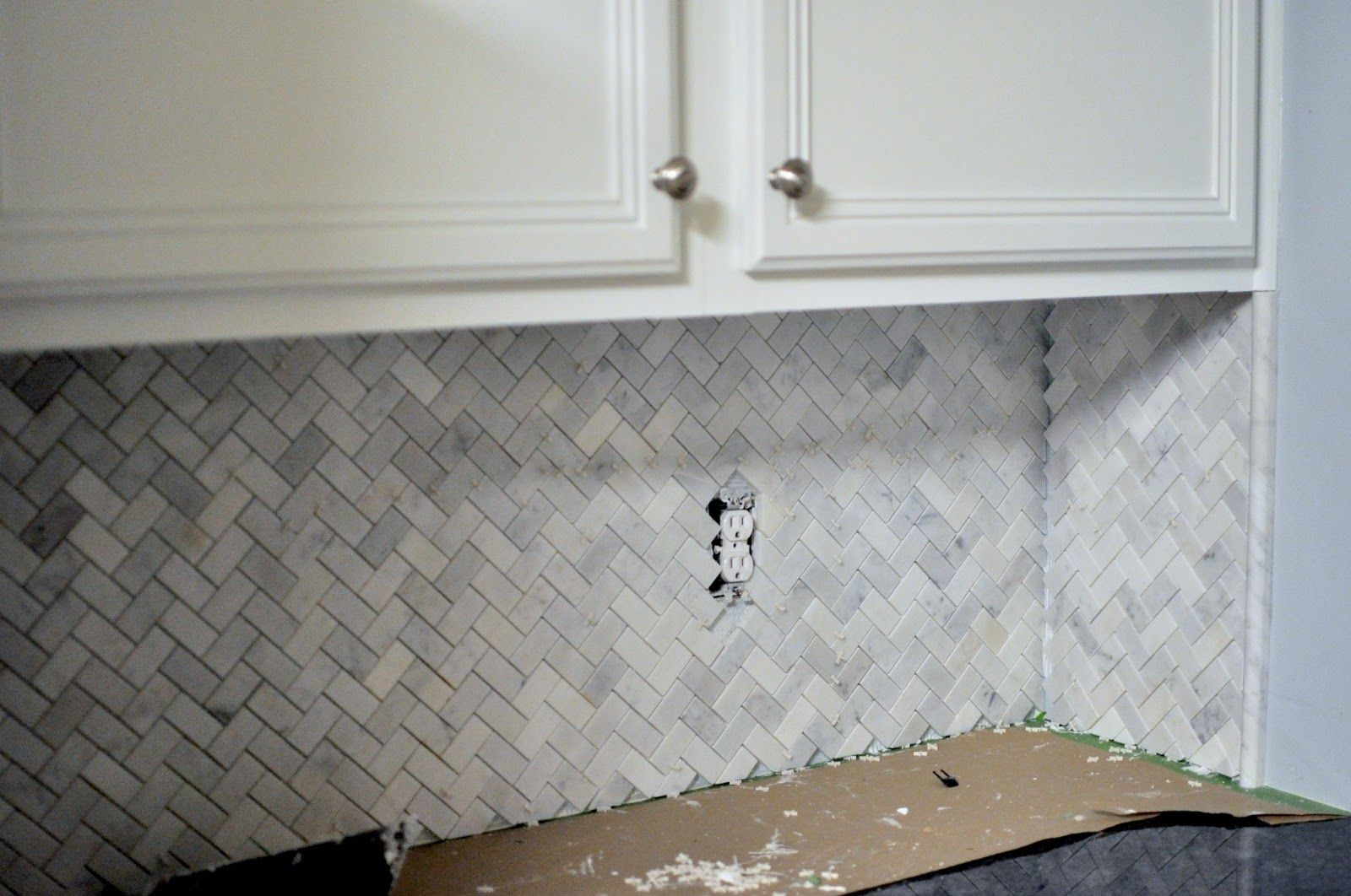 Herringbone Pattern Carrara Marble Backsplash