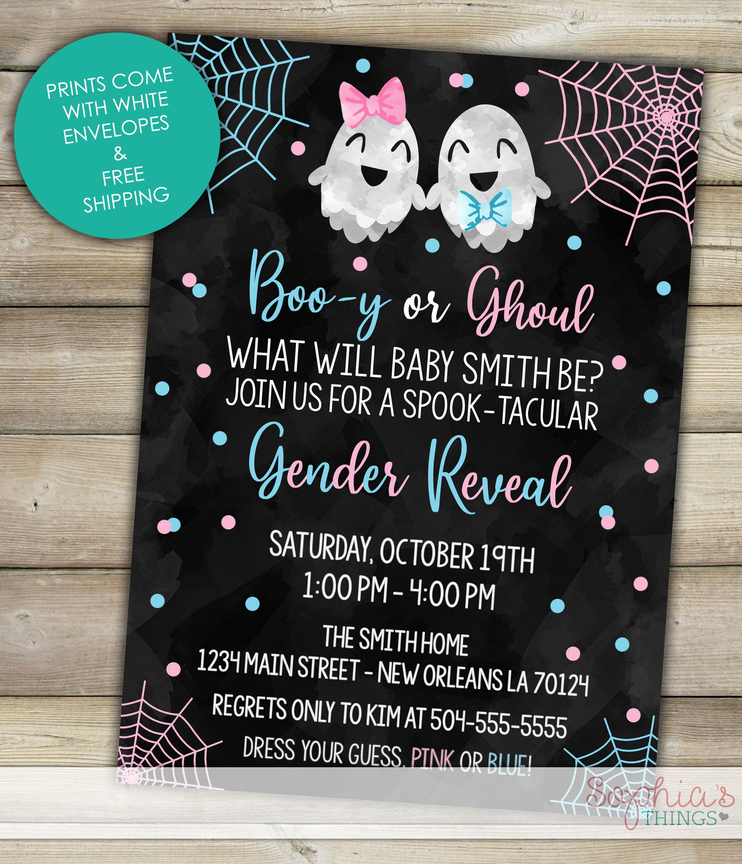 halloween gender reveal invitations