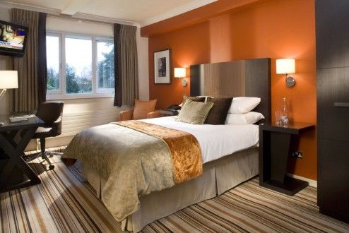 Too Much Brown In This Orange Paint Colors Attractive Modern Small Bedroom Ideas With Mixed White Color Wall And Copper Bedcover Tall