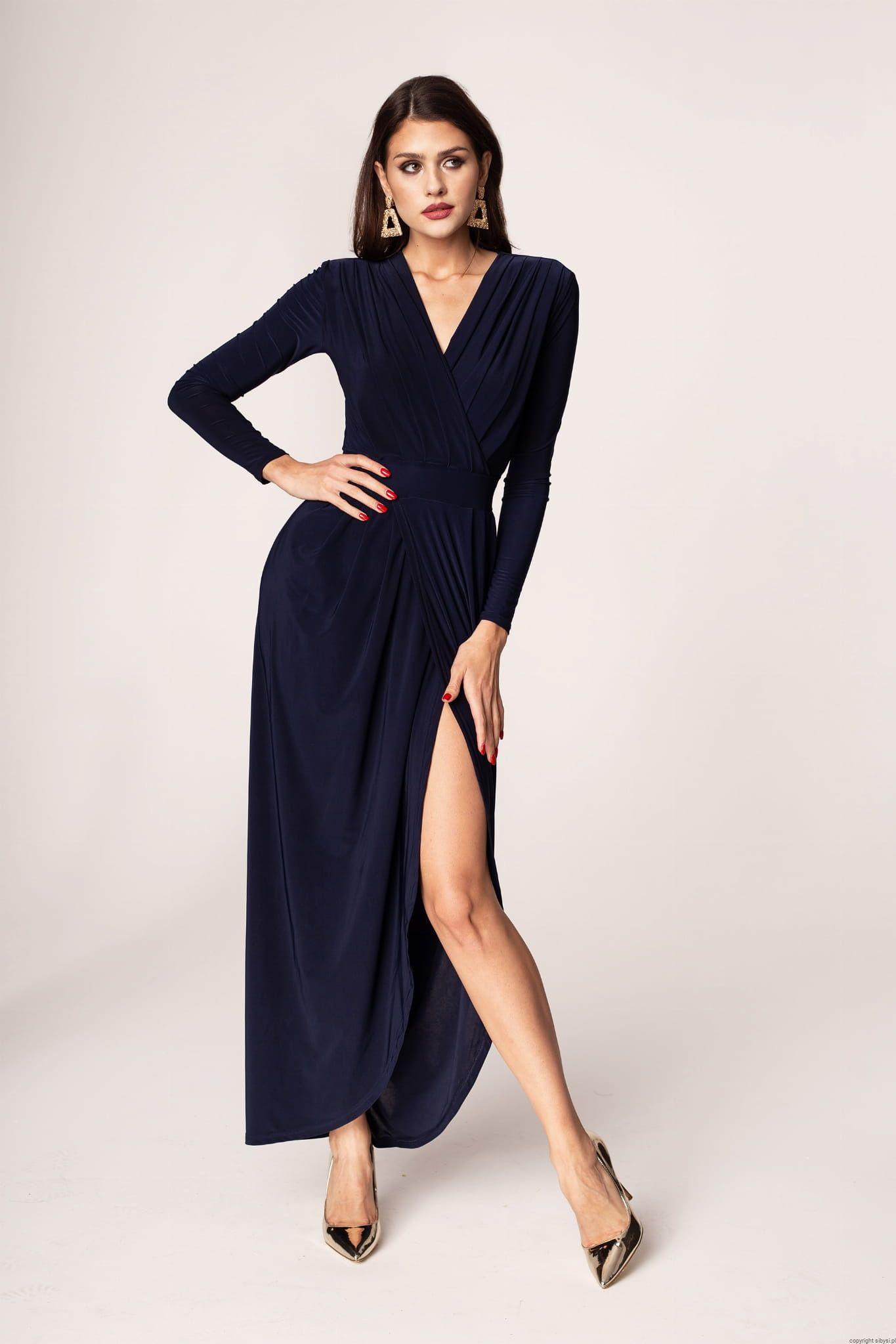 Elen Dluga Elegancka Sukienka Granatowa Ost Xs I L Fashion Dresses Wrap Dress