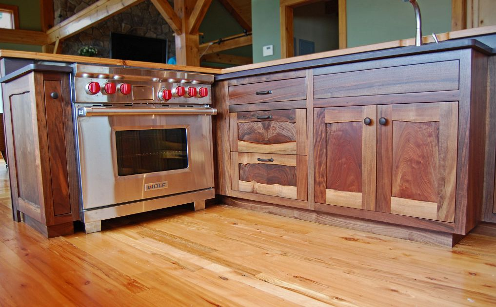 custom walnut cabinetry includes live edge staves the flooring is reclaimed beech from pioneer millworks - Kitchen Cabinets Frames