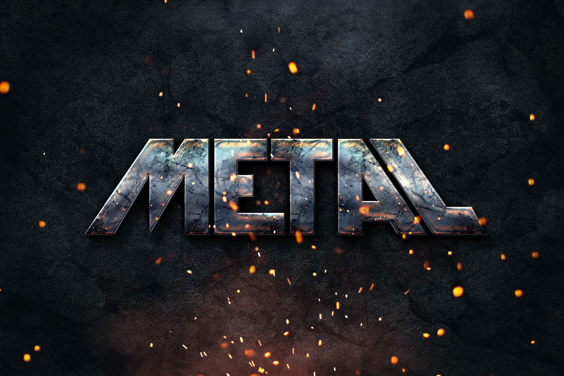 Metal Text Style Text style, Free